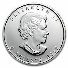 2012 1oz Canadian Silver Maple Coin
