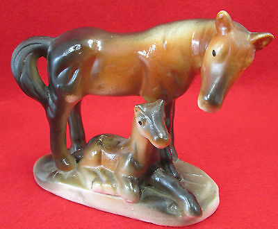 Vintage Ceramic Porcelain Mare and Foal Horse figurine 50s or 60s