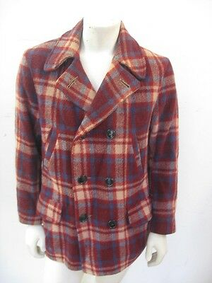 Vintage 1930s Plaid Wool Mackinaw Coat Jacket North Country Size M/L
