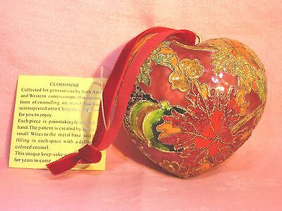 """VTG HEART Red Cloisonne Ornament Flowers & Leaves 3""""x3""""x1.5"""" Tag"""