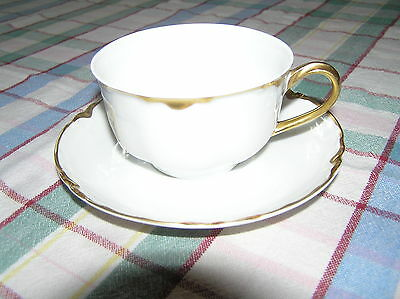 Hutchenreuther Selb Bavaria cup /saucer white /gold trim scalloped nos