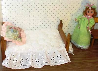 "BEAUTIFUL BEDDING fits Ginny Doll 8"" Madame Alexander or Muffie set #5, 4 ITEMS"