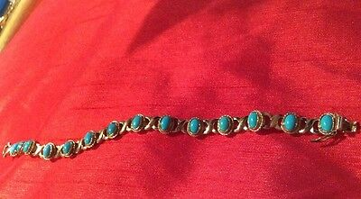 Very Pretty 9ct  Gold And Turquoise Bracelet 375