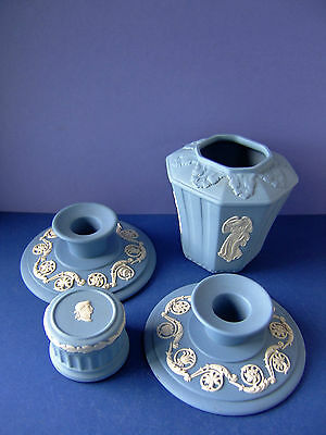A Small Collection of Wedgwood Blue Jasper ware