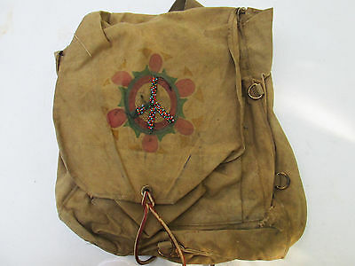 Vintage Boy Scouts Of America Canvas Backpack w Peace Symbol