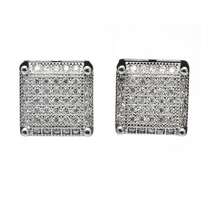 Men's Luxury Square Silver Plated Micro Pave CZ Setting Screw Back Earrings 999S