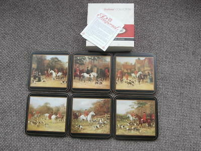 """Set of 6  Pimpernel Traditional De Luxe Coasters  'TALLY HO""""  Boxed"""