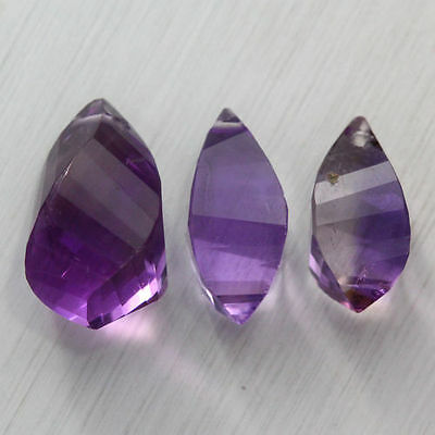 8.275 Ct RESPLENDENT 100%NATURAL RICH PURPLE AMETHYST UNHEATED (BOLIVIA) 3-PCS
