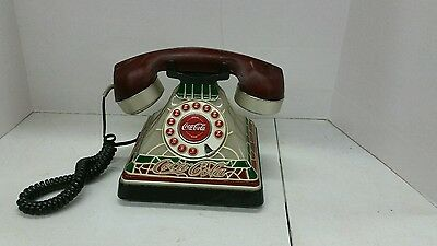 COCA-COLA Stained Glass Vintage Telephone Phone Old Fashioned Coke