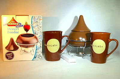 Hershey Kisses Fondue Pot 2 Hot Chocolate Mugs Great Gift!