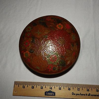 Vintage Hand Painted Enamelware on Brass Bowl - Made in India