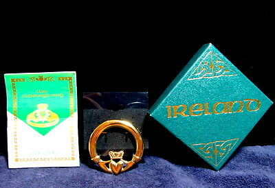 VTG ST PATTYS DAY Sol D' Or Claddagh Gold Tone Friendship Pin Stamped Kida