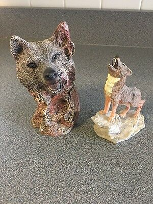 Two Wolf Statues