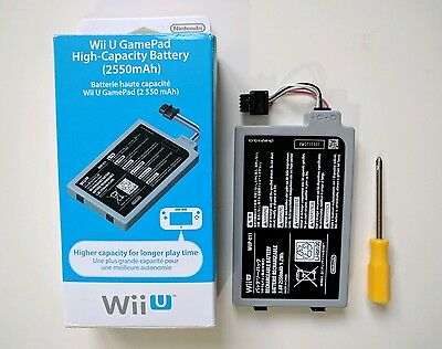 Official Wii U High Capacity 2550mAh Battery Boxed with screwdriver