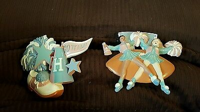 Pair of HOME INTERIORS BURWOOD 1992 Cheerleaders Football Wall Hanging Plaques