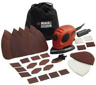 Black Decker Mouse Electric Detail Palm Sander Compact Polisher with Accessories