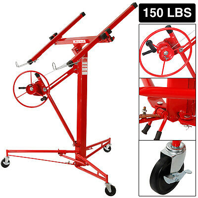 11' Drywall Lifter Panel Hoist Jack Rolling Caster Construction Lockable Tool