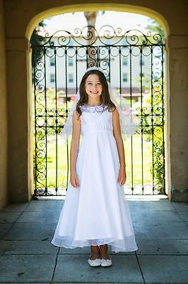 Helena White Satin, Organza And Pearl Ankle Length Communion Dress