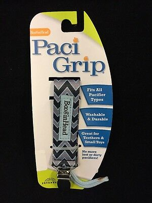 BooginHead Pacigrip Pacifier Holder, Seattle Chevron, Fits All Pacifiers, New