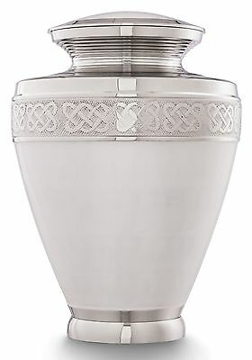 White Cremation Urn for Ashes Adult,Funeral Memorial Remembrance Brass Urn Large