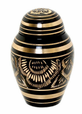 Mini keepsake cremation urn for ashes Small Funeral memorial urn,  black & gold