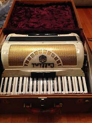 Cellini 120/41 Vintage Accordion 1960's Gold Mother of Pearl