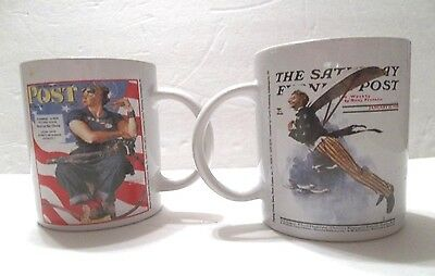 2-Saturday Evening Posts Cups-Patriotic Collection- GREAT VALENTINE'S GIFT.