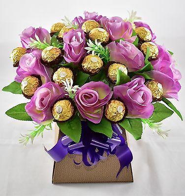 Ferrero Rocher Purple Roses Flowers Chocolate Bouquet-Perfect Gift-Sweet Hamper