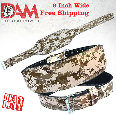 Dam Leather Gym Power Heavy Duty Weight Lifting Body Building Belt, Pixel Camo