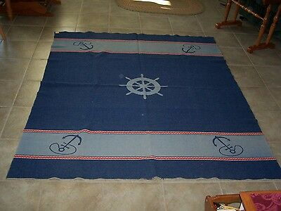 North Star Nautical Theme Reversible Wool Blanket - Size 71 X 63 Inches