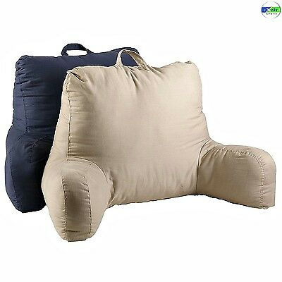 Twill Bedrest Arm Pillow Relaxing Backrest TV Reading Couch Lounge Wedge Navy