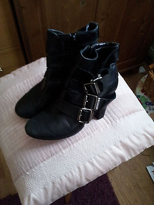 Miss Selfridge Black Leather Ankle Boots Size 5