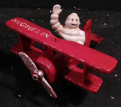 Cast Iron MICHELIN MAN RED AIRPLANE Small Auto Collectible Plane