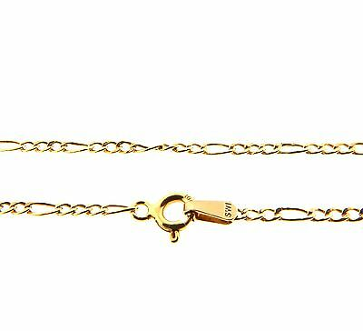 "10k Yellow Gold Figaro Link Chain Anklet Ankle Bracelet 2.5mm 12.5"" 1g."