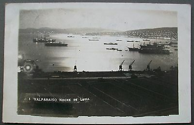 1928 B/W Real Photo Postcard Valparaiso By Moonlight Chile View Of Port