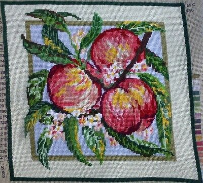 "vtg hand embroidered tapestry needlepoint 'Peaches' 14"" x 14"""