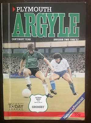 Plymouth v Grimsby 1986-87 programme