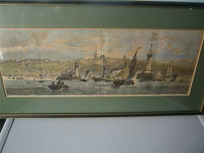 nice framed antique 19th century print panorma of boulogne sur mer france