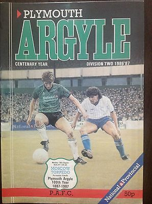 Plymouth v Moscow Torpedo 1986-87 programme