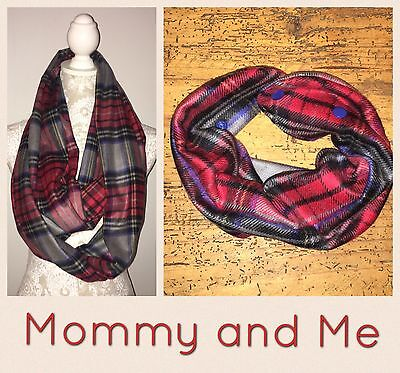 Mommy And Me Women's Infinity Scarf & Baby/toddler Adjustable Scarf Tartan Plaid