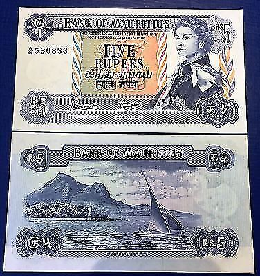 Mauritius 5 rupees ND (1967) Queen Elizabet II & Sailboat - P30 c - UNC