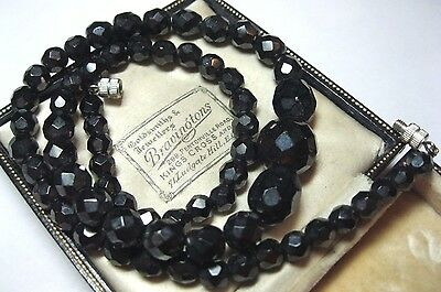 VINTAGE 1950's JET BLACK CRYSTAL FACETED GLASS Bead Graduated Jewellery Necklace