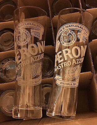 23 x PERONI BEER 1 PINT TALL GLASSES, NUCLEATED - USED