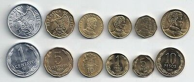 Chile 6 Coin Type Set Uncirculated Condor