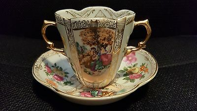 Stunning Double Handled Tea Cup & Saucer Floral China Victorian Porcelain