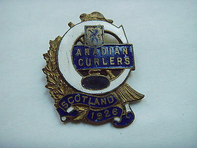 Canadian 1926  Visit To Scotland Curling  Badge.
