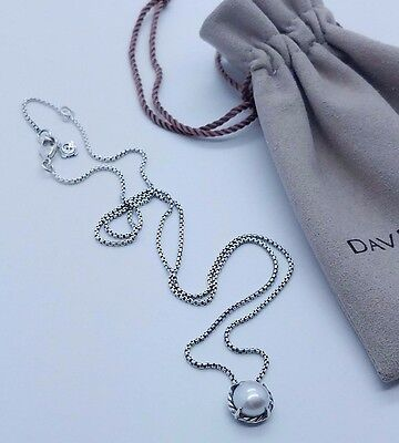 David Yurman Sterling Silver 925 Chatelaine Pendant Necklace Pearl Pouch
