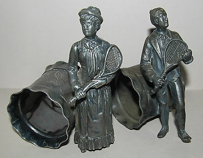 1800's ANTIQUE SILVERPLATE NAPKIN RINGS HOLDERS VERY RARE TENNIS PLAYERS