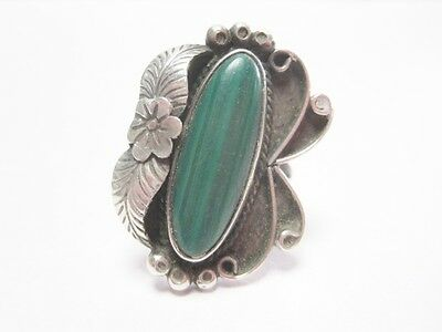 Vintage Ring Sterling & Malachite Native American Design