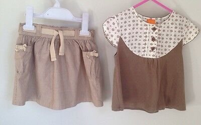 Mini Mode Baby Girl Outfit Skirt Top Set 18-24 Months Mushroom Brown